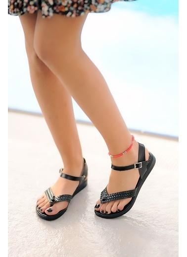 Pembe Potin A204-20 Kadın sandalet Siyah